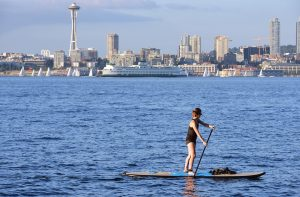 Paddle-boarding off Seattle coast